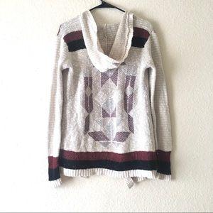 Full Tilt Hooded Crochet Knit Cardigan
